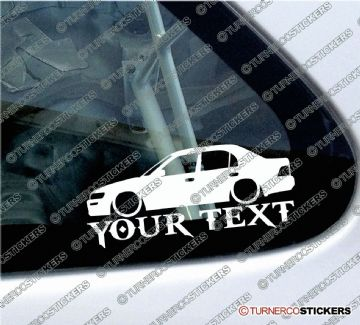2x Custom YOUR TEXT Lowered car stickers - Toyota Corolla Ae100 saloon (1991-1995)